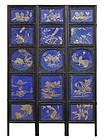 Chinese Porcelain Plaque Inset Screen, Gilt on Blue