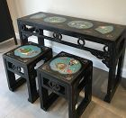 Chinese vintage lacquer side table and stool cloisonne panels inlay