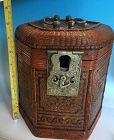 Antique Chinese bamboo basket tea pot warmer