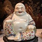 Chinese enameled porcelain Happy Buddha statue with carved wood base