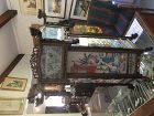 Antique Chinese hexagon glass and carved hardwood frame Chandelier 27""