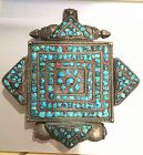 Tibetan old silver Gau prayer box pendant turquoise inlay