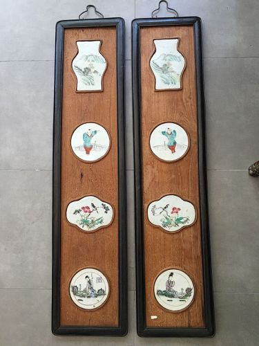 pair of Chinese wood hanging panes with porcelain plaques inserts