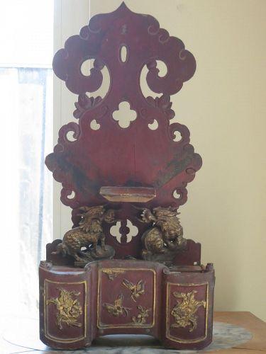 Antique Chinese gilt wood shrine
