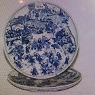 "Two Blue and White Ceramic Plates H21/2"" x Diameter"