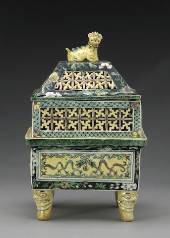 A famille verte enameled porcelain covered censer