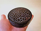 Antique Japanese Kamakura-bori Wood Carving Goshi Container