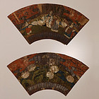 Pair of Antique Japanese Senmenga Fan Paintings