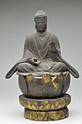 Antique Japanese Folk Wooden Shaka Nyorai Seated Image