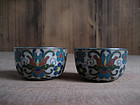 Pair of Antique Japanese Cloisonne Cups with Silver Lining