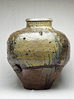 Antique Japanese Tokoname Three‐Handled Jar with Natural Glaze