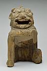 Antique Japanese Wood Carving Komainu Guardian Dog 14th century