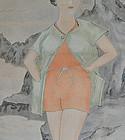 Antique Japanese Hanging Scroll Modern Girl 1920s Taisho period
