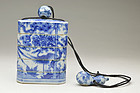 Blue and white Porcelain Four-case Inro by Takahashi Dohachi 19c