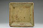 Old Japanese Seto Tatara-Zukuri Square Plate