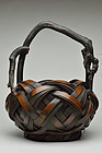 Japanese Hanakago Bamboo Flower Basket Taisho-Showa period