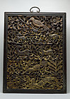 Chinese Qing Dynasty Gold-Lacquered Wood Carving Canopy Ornament