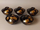 5-piece set of Antique Japanese Gold Makie-Lacquered Soup Bowls