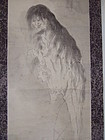 Antique Japanese hanging scroll of Yurei-ga ghost painting