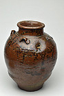Antique Japanese Tamba chatsubo tea storage jar Edo period 19c