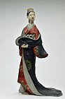 Old Japanese Hakata oiran clay doll Taisho-Showa period
