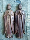 2 Antique Japanese Tohoku Sentaibutsu wooden Buddha statues