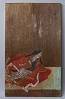Antique Japanese Itae wooden board painting Edo period 1