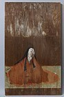 Antique Japanese Itae wooden board painting Edo period 2