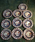 Set of 10 Antique Japanese iroe enamelled porcelain plate
