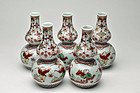 Set of 5 Japanese Kutani Akae red pictured tokkuri flasks