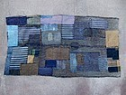 Antique Japanese BORO patched indigo futon textile 19c