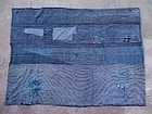 Japanese antique BORO patched indigo futon textile 19c
