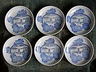 Set of 6 Antique Japanese imban porcelain plates 19c