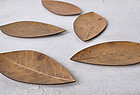 Set of 5 Japanese wooden autumnal leaf plates for tea ceremony