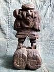 Primitive Japanese folk Buddhist wooden Daikoku statue 19c