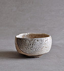 Unusual antique Japanese Inuyama tea bowl 19c