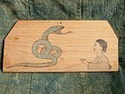 Japanese Ema painting wooden board of Woman praying to snake