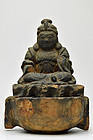 Wood carving Buddhist goddess of seated Benzaiten Early Edo period