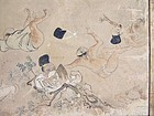Antique Japanese folding screen Hohi Gassen Fart Battle picture scroll