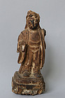 Antique Japanese Shinto-Buddhist wood carving Uho Doji statue