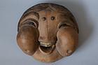 Vintage Japanese pottery Okame mask