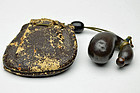 Antique Japanese Bronze gourd netsuke with leather pouch Edo period