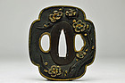 Ume blossom - Antique Japanese Shakudo Tsuba handguard Edo period