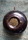 Antique Japanese wooden gunpowder flask Edo 19c