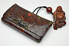 Japanese Kinkarakawa leather pouch with frog metal fitting