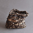 Radical vintage Japanese woven bark and vine basket 20c