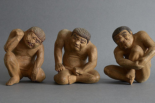 Jaki - Three Japanese wood carving ogres