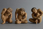 Jaki - Three Japanese wood carving ogres