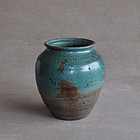 Japanese copper-green glazed Agano ware jar