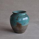 Japanese copper-green glazed Agano ware jar